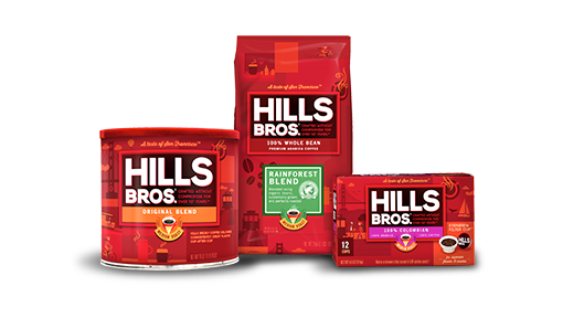 Hills Bros Premium Whole Bean, Ground and Single-Serve Coffee